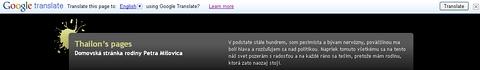 Menu prekladača, ktoré sa zobrazí v prípade, že Vaša stránka obsahuje kód widgetu