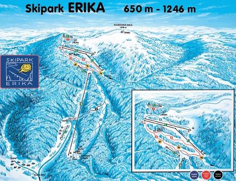 Skipark Erika, mapa tratí, Kojšova hoľa